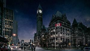 Фотография Канада Башня Ночь Улица Toronto