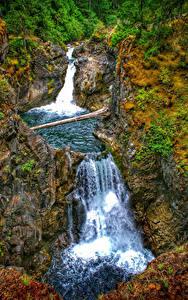 Обои для рабочего стола Канада Водопады Парки Скалы Little Qualicum Falls Provincial Park Vancouver Island Природа