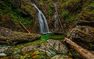 Обои Канада Водопады Камни Ванкувер Скалы Мох HDR Nahmint Wilderness Природа