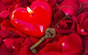 Картинки Свечи Вблизи Пламя Роза Ключом Лепестков цветок