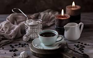 Картинки Свечи Кофе Чашке Ложки Зерна безе
