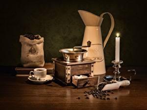 Картинки Кофе Свечи Кофемолка Столы Зерно Чашка Кувшины