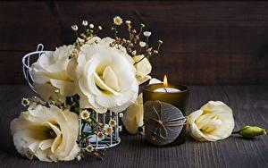 Фото Свечи Эустома Стакан Цветы