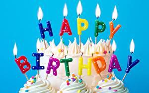 Картинки Свечи Огонь День рождения Торты Английский Слова
