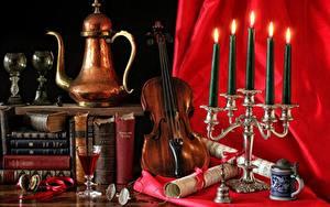 Обои Свечи Чайник Скрипки Натюрморт