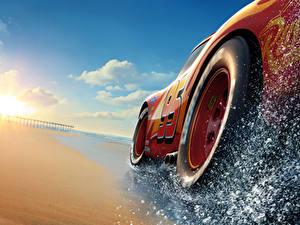 Фотография Тачки 3 Крупным планом Красные Колесо Lightning McQueen