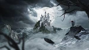 Фотографии Замки Вороны Ночные Луна Утес Фантастика