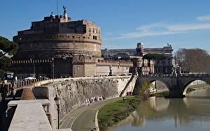 Картинка Замок Рим Италия Река Мосты Памятники Музей Castel Sant'angelo, Adriano Park, Tiber river