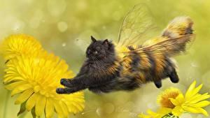 Фотографии Коты Пчелы Креативные Одуванчики Крылья Полет