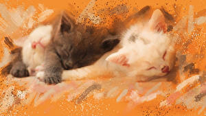 Картинки Кошка Рисованные Котята Вдвоем Животные