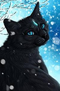 Картинка Коты Рисованные Снежинки Черный Животные