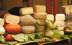 Картинка Сыры Много Листва Пища