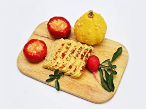 Обои для рабочего стола Сыры Редис Тыква Перец овощной Сером фоне Разделочной доске Нарезка Пища