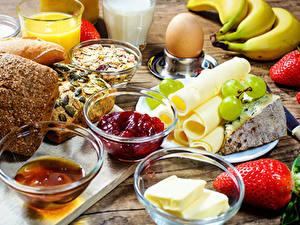 Картинки Сыры Клубника Варенье Хлеб Завтрак Яйца Масло