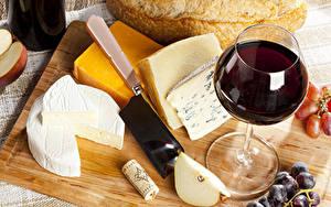 Картинка Сыры Вино Бокал Еда