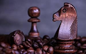 Фотографии Шахматы Вблизи Кофе Деревянный Зерна