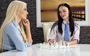 Картинка Шахматы 2 Сидит Блондинка Брюнетка Галстук