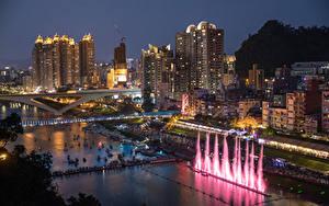 Фотография Китай Дома Речка Мосты Причалы Вечер New Taipei City город