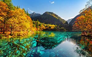 Фотография Китай Цзючжайгоу парк Парк Речка Осенние Горы Valley