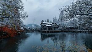 Обои Китай Парки Озеро Здания Зимние Снег Hangzhou Города