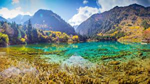 Фотография Китай Парк Горы Озеро Лес Осенние Пейзаж Цзючжайгоу парк Valley