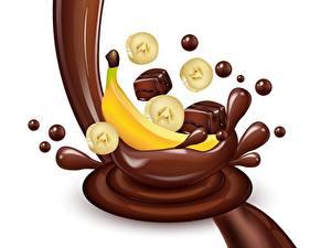 Фото Шоколад Конфеты Бананы Векторная графика Белым фоном Брызги Пища