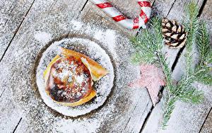 Обои Рождество Яблоки Сахарная пудра Доски Ветка Шишки Bratapfel Еда