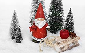Обои для рабочего стола Рождество Яблоки Дед Мороз Санки Снег
