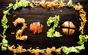 Обои для рабочего стола Новый год Яблоки Овощи Доски 2020 Нарезанные продукты Продукты питания