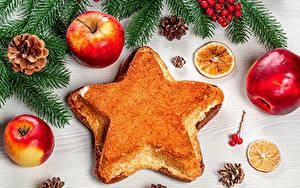 Обои Новый год Яблоки Вафли На ветке Шишки Звездочки