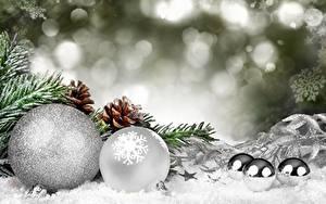 Картинки Рождество Шар Шишка Снега