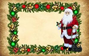 Обои Рождество Шар Санта-Клаус Очки Униформа Борода Шаблон поздравительной открытки