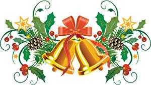 Картинка Рождество Ягоды Колокольчики Бантик Шишки Листья