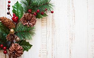 Фотографии Новый год Ягоды Доски На ветке Шишки Шаблон поздравительной открытки
