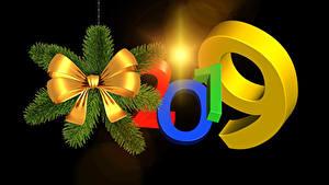 Фото Новый год Черный фон 2019 Ветвь Бант 3D Графика
