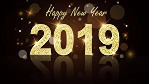 Картинка Новый год Черный фон Английский 2019