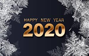 Обои для рабочего стола Новый год Черный фон Английский 2020 Снежинки Слово - Надпись