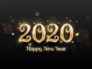 Фотография Новый год На черном фоне Звездочки Слово - Надпись Английская 2020