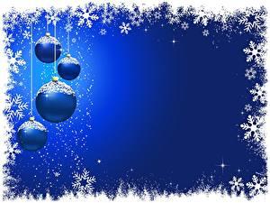 Обои Новый год Синий Снежинки Шарики Шаблон поздравительной открытки