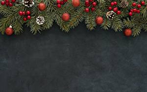 Обои для рабочего стола Рождество Ветки Шар Шишка Шаблон поздравительной открытки