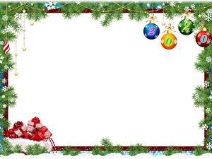 Картинки Новый год Ветки Шарики Снежинки Подарки Шаблон поздравительной открытки 2020