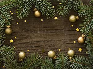 Фотография Новый год Ветки Шарики Звездочки Шаблон поздравительной открытки