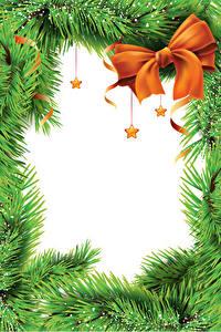 Фотография Новый год На ветке Бантик Звездочки Шаблон поздравительной открытки