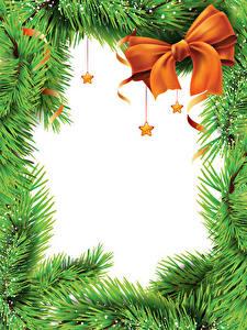 Обои для рабочего стола Новый год На ветке Бантик Звездочки Шаблон поздравительной открытки