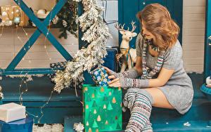 Картинка Новый год Шатенка Сидя Подарков Платья Гирлянда Шарф Ветки