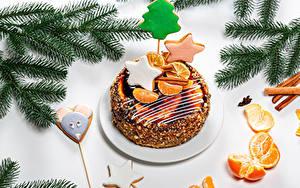 Фото Рождество Торты Печенье Мандарины Ветвь Дизайна Звездочки