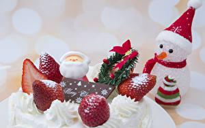 Фотография Рождество Торты Клубника Снеговики Шапки
