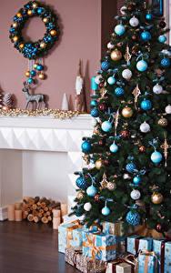 Фотография Рождество Новогодняя ёлка Шарики Подарки