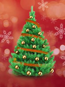 Картинка Новый год Новогодняя ёлка Шарики Снежинка