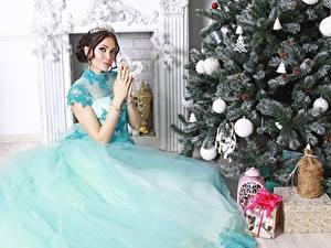 Картинка Рождество Елка Подарки Шатенка Платье Сидит Девушки